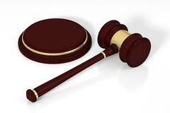 Wooden judge gavel and soundboard. Royalty Free Stock Images