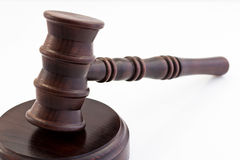 Wooden judge gavel and stand Stock Image