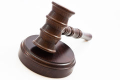 Wooden judge gavel and wooden stand Royalty Free Stock Photography
