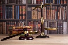 Wooden judge`s gavel. Law. Judge`s office. Wooden judge`s gavel. Law and justice concept. Legal office Royalty Free Stock Photo