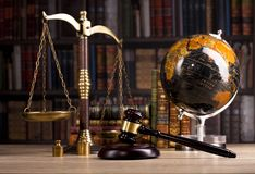 Wooden judge`s gavel. Law. Judge`s office. Wooden judge`s gavel. Law and justice concept. Legal office Royalty Free Stock Image