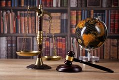 Wooden judge`s gavel. Law. Judge`s office. Wooden judge`s gavel. Law and justice concept. Legal office Stock Photo