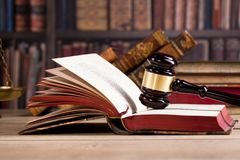 Wooden judge`s gavel. Law. Judge`s office. Wooden judge`s gavel. Law and justice concept. Legal office Royalty Free Stock Images