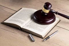 Wooden judge`s gavel. Law. Judge`s office. Wooden judge`s gavel. Law and justice concept. Legal office Royalty Free Stock Photography