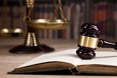 Wooden judge`s gavel. Law. Legal office. Royalty Free Stock Photo
