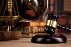 Wooden judge`s gavel. Law. Legal office. Royalty Free Stock Images