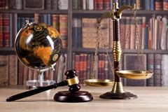 Wooden judge`s gavel. Law. Legal office. Stock Photography