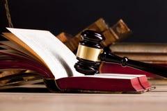 Wooden judge`s gavel. Law. Judge`s office. stock photo