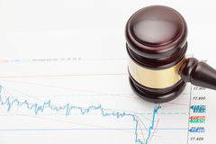 Wooden judge's gavel and over some important financial documents Royalty Free Stock Photography