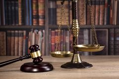 Wooden judge`s gavel. Law. Legal office. Royalty Free Stock Photos