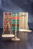 Wooden Judges gavel ,golden scales justice Royalty Free Stock Photos