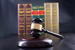 Wooden Judges gavel ,golden scales justice Stock Image