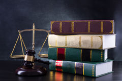Wooden Judges gavel ,golden scales justice Royalty Free Stock Photography