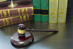 Wooden Judges gavel ,golden scales justice Royalty Free Stock Image