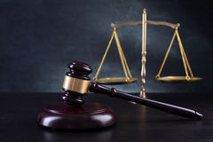 Wooden Judges gavel ,golden scales justice Royalty Free Stock Images
