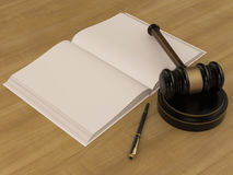 Wooden Judges Gavel And open book on the wooden background. High resolution stock illustration