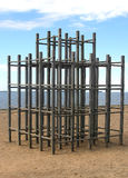 Wooden Jungle Gym on Beach Stock Photo