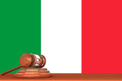Gavel with Flag Of Italy. Wooden Justice Gavel with Flag Of Italy Royalty Free Stock Photos