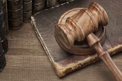 Wooden Jydges Gavel And Old Law Books On Wooden Table Stock Photography