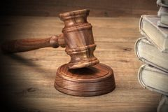 Wooden Jydjes Gavel And Old Law Books On Wooden Table Stock Images