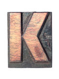 Wooden K typeface Royalty Free Stock Image