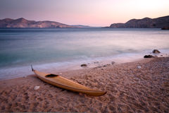 Wooden kayak Stock Photography