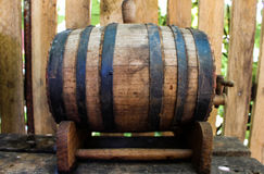 Wooden keg outside. With wine Stock Photo