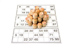 Wooden kegs and cards  for lotto or bingo game Stock Photo
