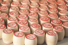 Wooden kegs for a lotto. Wooden kegs for a lotto, closeup Stock Images