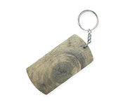 Wooden key ring isolated on white Stock Photo