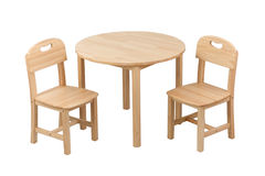 Wooden kids chair and table set Royalty Free Stock Image