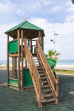 Wooden kids game structure playground urban park Stock Image