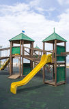 Wooden kids game structure in pubblic area Royalty Free Stock Photography