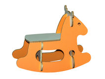 Wooden kids rocking horse toy isolated Stock Photography