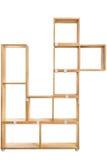 Wooden kit shelf isolated on white background. Modren wooden furniture for office. Wooden module shelf for home Stock Images