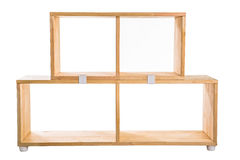 Wooden kit shelf isolated on white background. Modren wooden furniture for office. Wooden module shelf for home Royalty Free Stock Photos