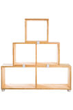 Wooden kit shelf isolated on white background. Modren wooden furniture kit pyramid form for office. Wooden module shelf for home Royalty Free Stock Photo