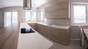 Wooden kitchen cabinet Royalty Free Stock Photos