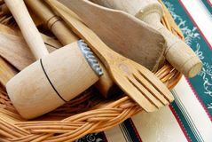 Wooden kitchen equipment Royalty Free Stock Photography