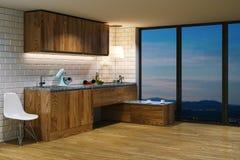 Wooden kitchen furniture in modern interior. Evening view from b Stock Photos