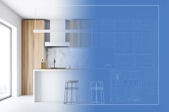 Wooden kitchen interior and its blueprint. Wooden kitchen interior with panoramic windows, a white floor and a bar stand. A blueprint is to the right of it. 3d Royalty Free Stock Image