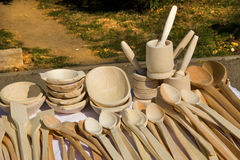 Wooden kitchen objects. Handmade wooden kitchen objects for sale at a outdoor fair Stock Photography