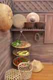Wooden kitchen in rustic style Royalty Free Stock Image