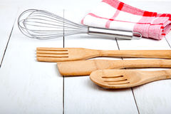 Wooden kitchen set Royalty Free Stock Image