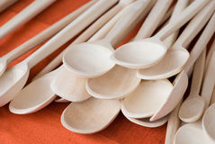 Wooden kitchen spoon Stock Images
