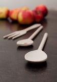 Wooden kitchen spoon Stock Photos