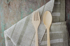 Wooden kitchen spoon and fork Stock Photos