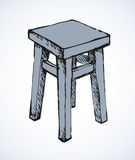 Wooden kitchen stool. Vector sketch Stock Photo