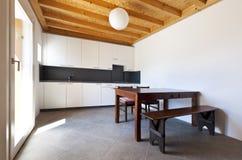 Wooden kitchen table Stock Photo