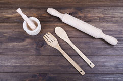 Wooden kitchen things. Royalty Free Stock Photo